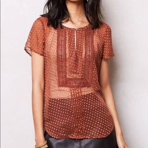 ANTHRO Meadow Rue Rust Colored Blouse-Sm